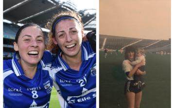 LEFT: Sisters Louise and Michelle Ryan celebrating Waterford's All-Ireland Intermediate Championship final win in 2015. RIGHT: Ten-month old Michelle Ryan with Waterford's Marie Crotty